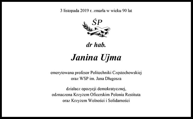 Zmarła dr hab. Janina Ujma, członek Rady Fundacji w latach 2003-2008